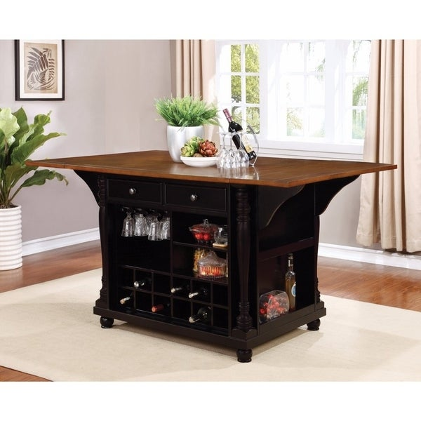 Ious Two Tone Kitchen Island With Drop Leaves Brown