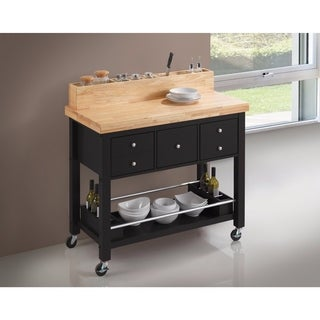 Contemporary Style Kitchen Island with Casters, Black