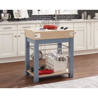 Sturdy Wooden Kitchen Island, Blue & Oak