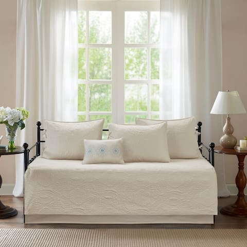 Madison Park Brenna Cream 6 Piece Cotton Rich Filling Reversible Daybed Set