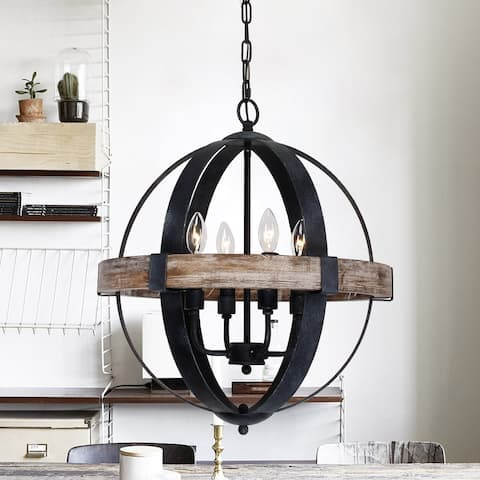 Farmhouse Weathered Oak Wooden 4-Light Orb Chandelier