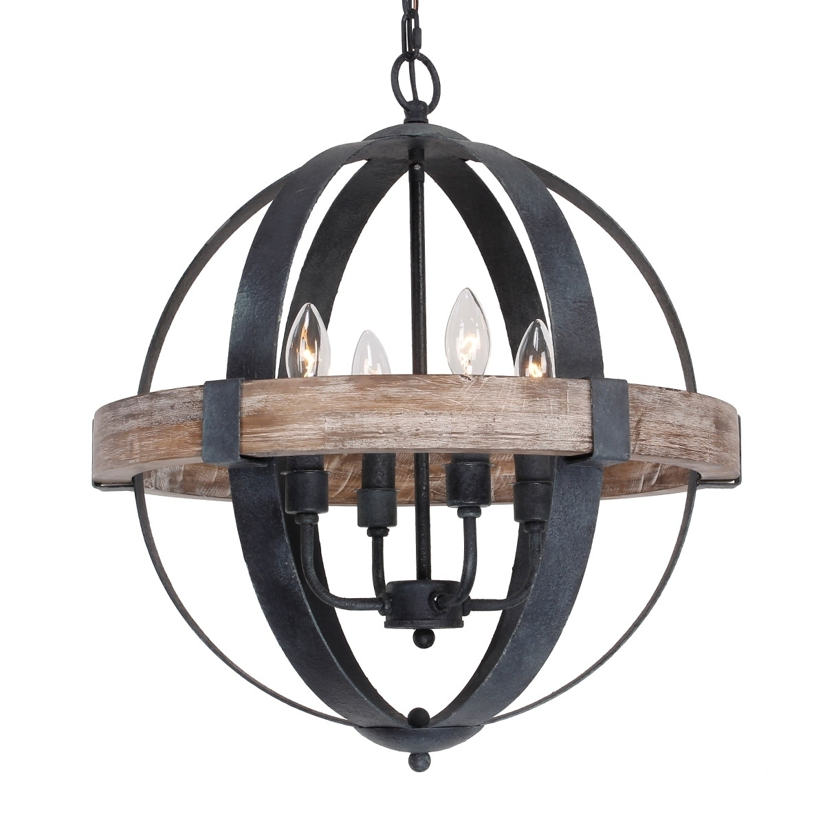 Farmhouse Weathered Oak Wooden 4 Light Orb Chandelier N A