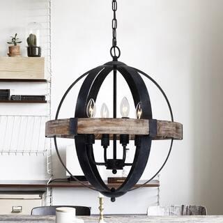 Farmhouse Weathered Oak Wooden 4-Light Orb Chandelier - N/A