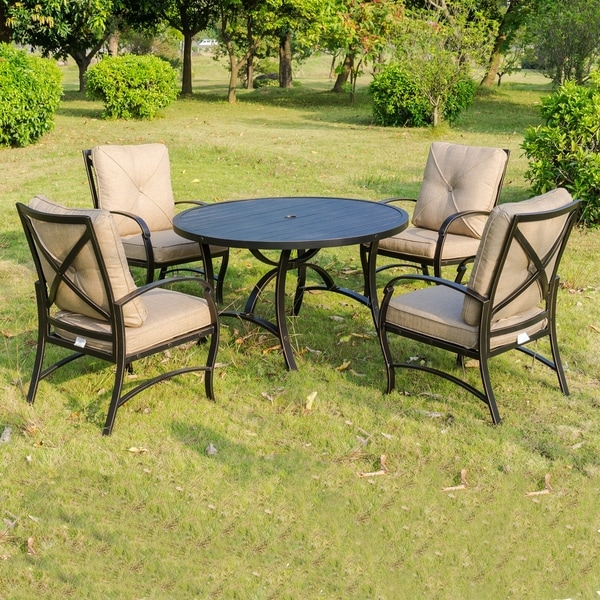 shop brazos 5 piece dining set 48 inch round dining table free shipping today. Black Bedroom Furniture Sets. Home Design Ideas