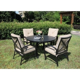 Brazos 5 Piece Patio Aluminum Dining Set with Cushions, 48 Inch Round Dining Table