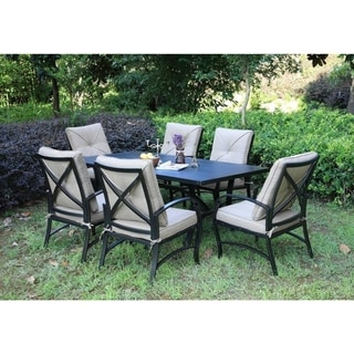Link to Brazos 7 Piece Patio Aluminum Dining Set with Cushions, 42x72 Inch Rectangle Dining Table Similar Items in Patio Furniture