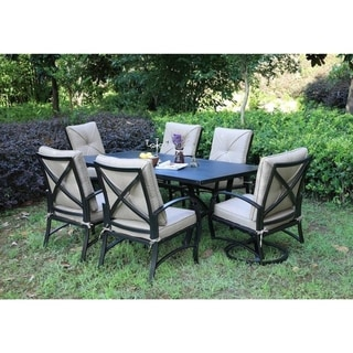 Brazos 7 Piece Patio Aluminum Dining Set with Cushions, 42x72 Inch Rectangle Dining Table