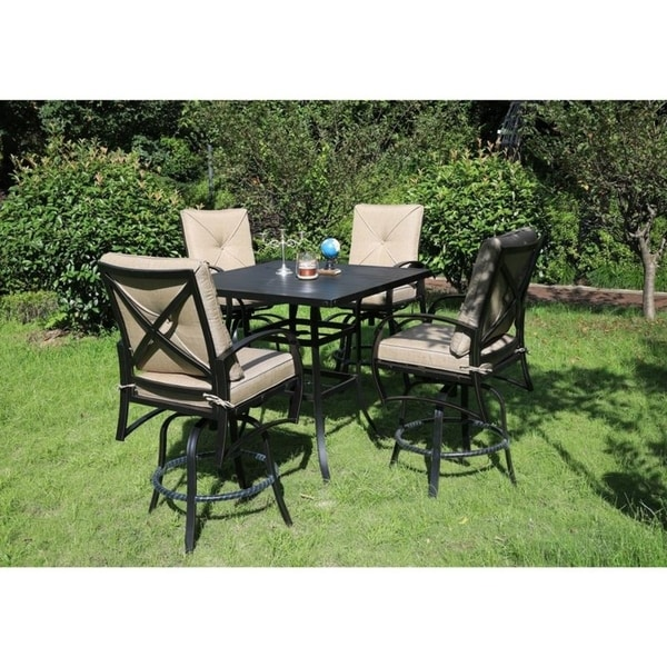 Brazos 5 Piece Aluminum Bar Set with Cushions, 42 Inch Square Bar Table