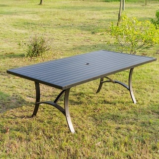 Brazos 42x72 Inch Patio Aluminum Rectangle Dining Table - N/A