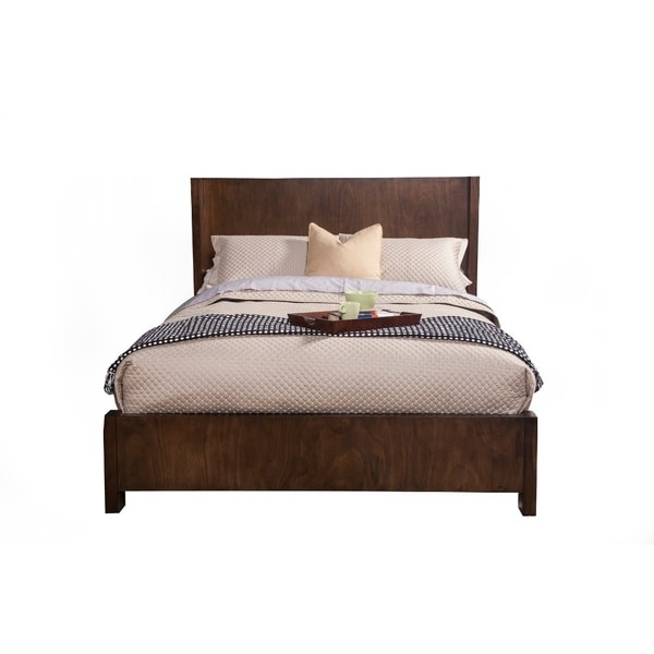 Transitional Queen Size Shelter Panel Bed In Wood Brown