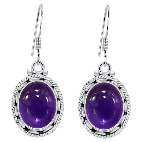 Amethyst, Malachite, Turquoise Sterling Silver Oval Dangle Earrings by Orchid Jewelry