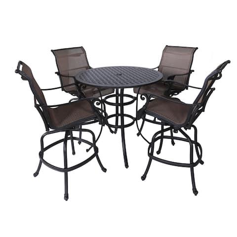 "Yorkshire 5 Piece Aluminum Sling Bar Set, 42"" Round Bar Table"
