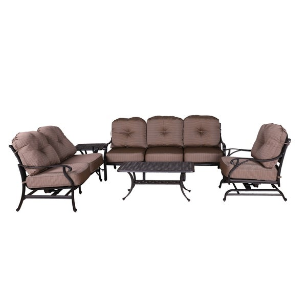 Yorkshire 5 Piece Aluminum Sofa Set, 21x42'' Coffee Table