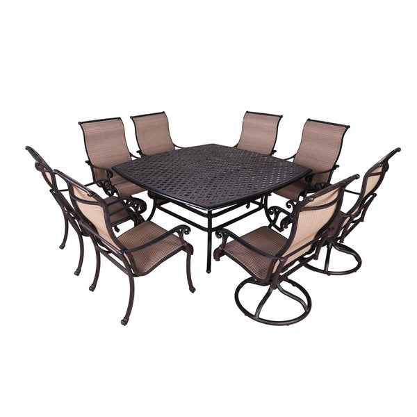 Yorkshire 9pc Sling Dining Set With Aluminum Frame 64 Square Table