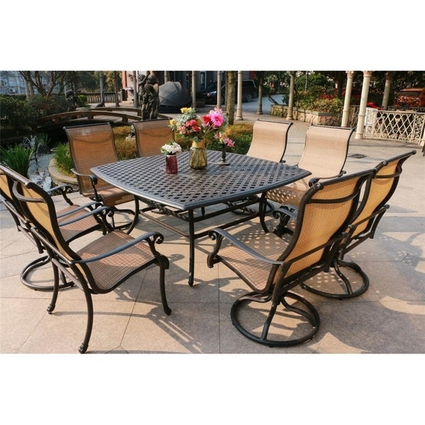 """Yorkshire 9pc Sling Dining Set with Aluminum Frame, 64"""" Square Table"""