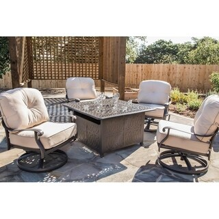 "Saratoga 5pc Fire Pit Set, 44"" Square Chat High Fire Pit Table"