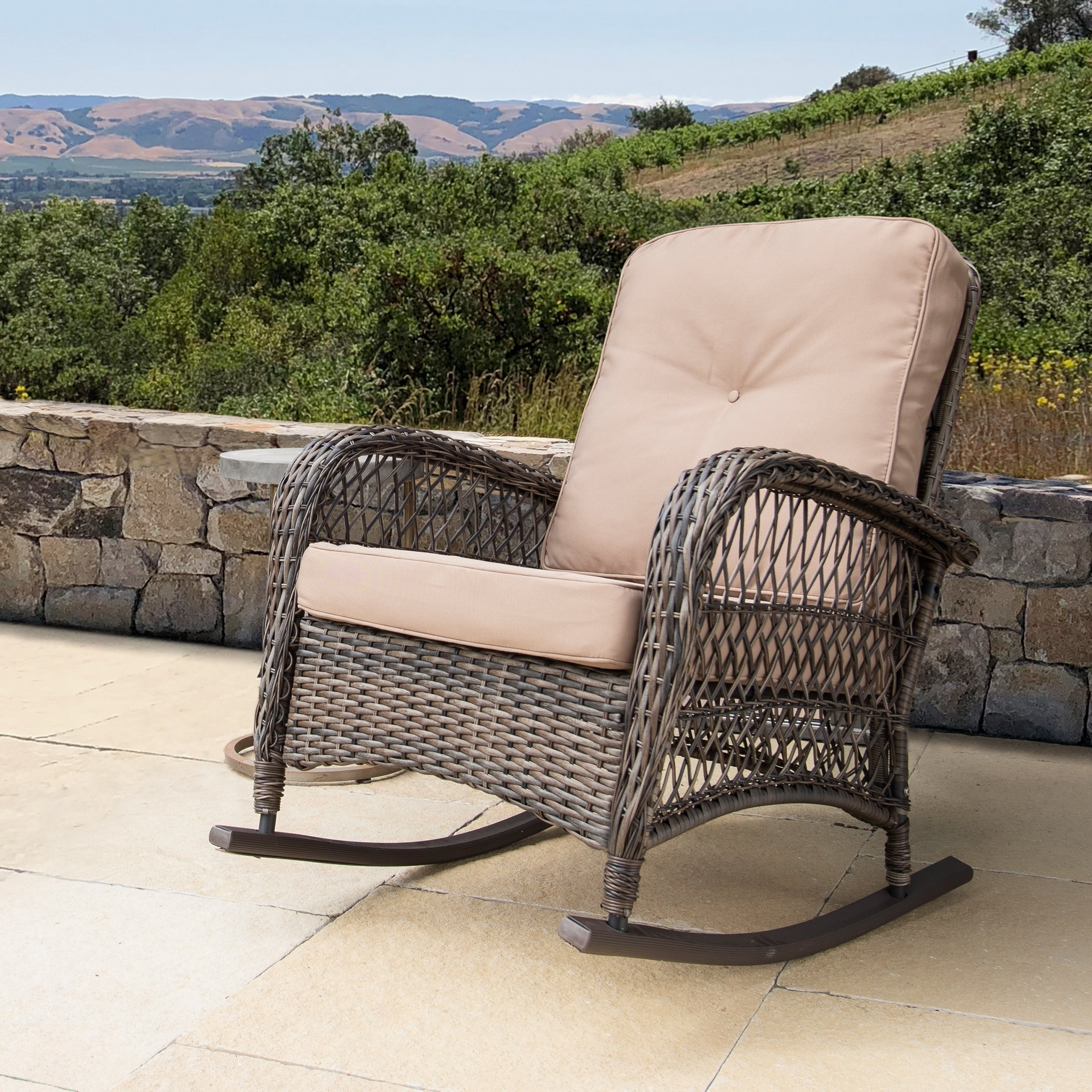 Corvus Rno Outdoor Wicker Rocking Chair With Cushions