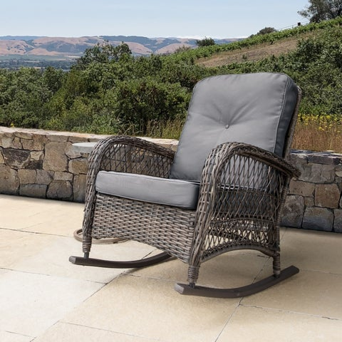 Corvus Salerno Wicker Outdoor Rocking Chair with Cushions