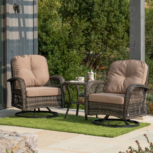 Patio Furniture Sets With Swivel Chairs.Shop Corvus Livorno Outdoor 3 Piece Wicker Chat Set With Swivel