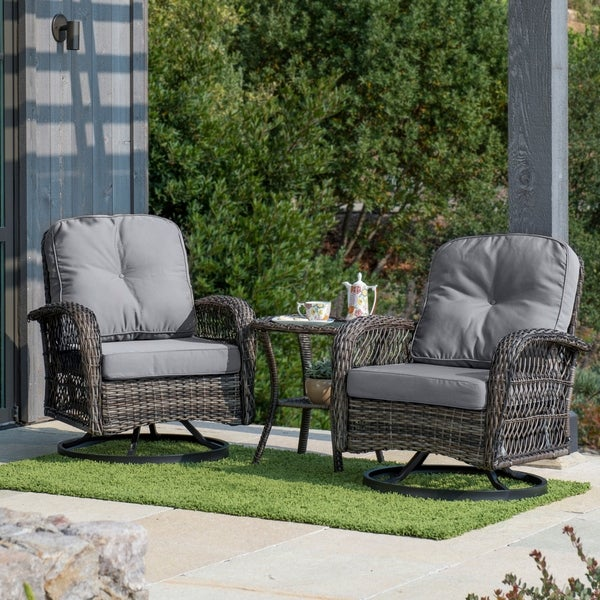 Corvus Livorno Outdoor 3-piece Wicker Chat Set with Swivel Chairs & Shop Corvus Livorno Outdoor 3-piece Wicker Chat Set with Swivel ...