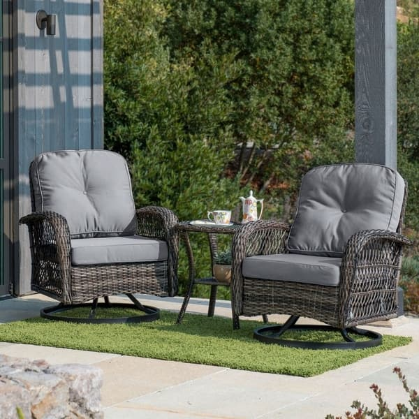 Superb Shop Corvus Livorno Outdoor 3 Piece Wicker Chat Set With Caraccident5 Cool Chair Designs And Ideas Caraccident5Info