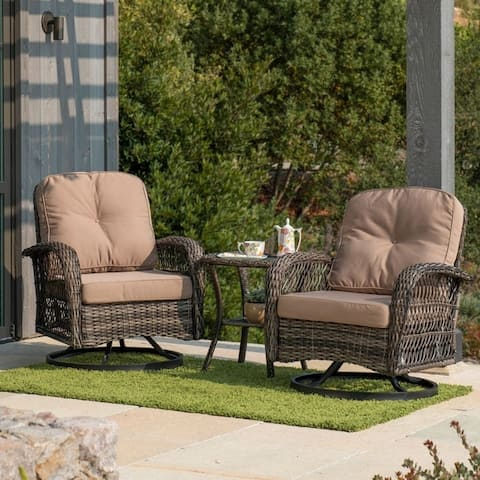 Corvus Livorno Outdoor 3-piece Wicker Chat Set with Swivel Chairs