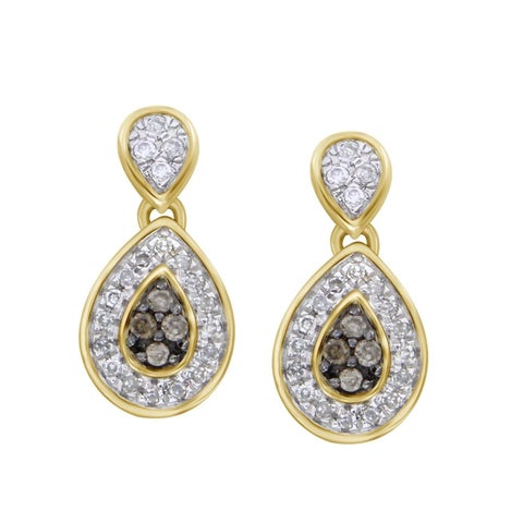 1/4 cttw Brown and White Diamond 10k Yellow Gold Screw Back Drop Ladies Earrings