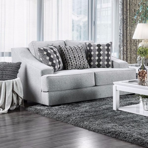 Textured Chenille Fabric Loveseat with slanted arms, Gray