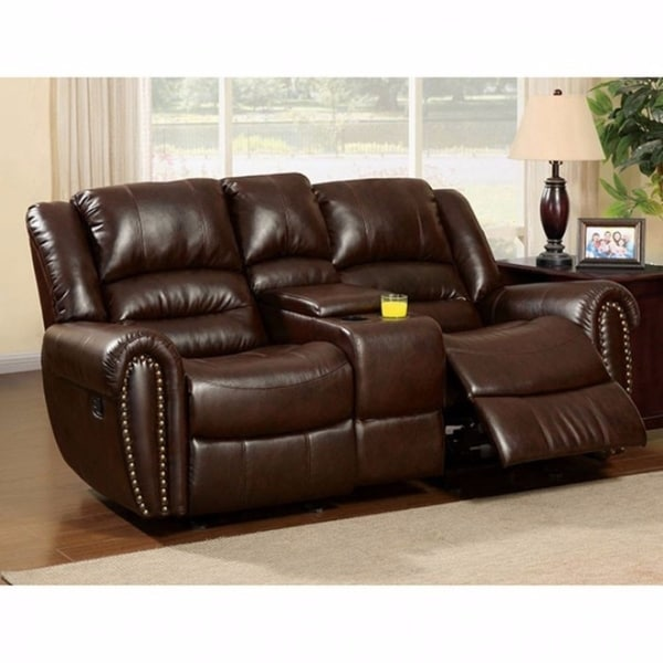 Shop Bonded Leather Loveseat Recliner With Center Console