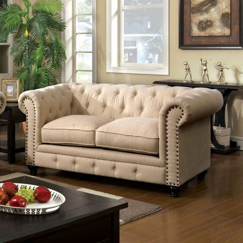 Fabric Traditional Love Seat with Nailhead Details and Button Tuftings, Ivory Cream