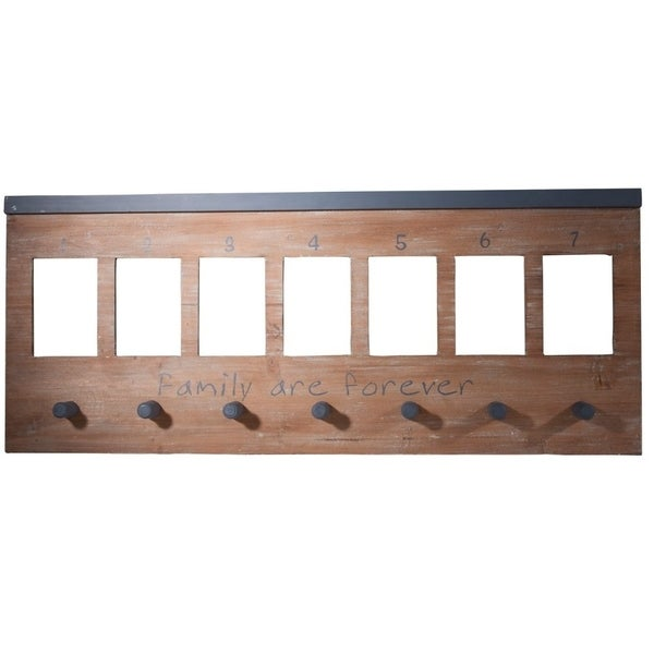 Wooden Wall Panel With Hooks, Brown