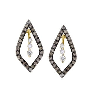 1/2 cttw Brown and White Diamond 10k Yellow Gold Screw Back Ladies Fashion Earrings