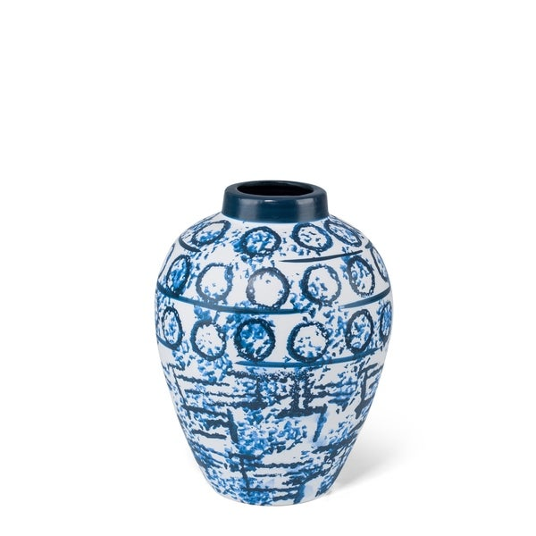 Elegantly Decorative Ceramic Medium Stamped Vase, Blue