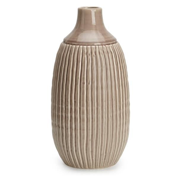 Stylish Appeal Ceramic Large Striped Vase, Brown