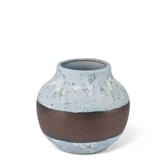 Shimmery Medium Antique Gray Ceramic Vase with Bronze Band