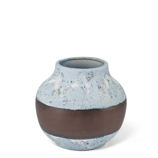 Shimmery Medium Antique Gray Ceramic Vase with Bronze Band