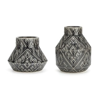 Attention Grabbing Ceramic Vases, Black (Set of 2)