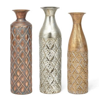 Vintage Style Metal Based Narrow Vases Assortment of 3 Multicolor