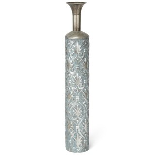 Metal, Large Chic Accent Vase, Silver & Blue