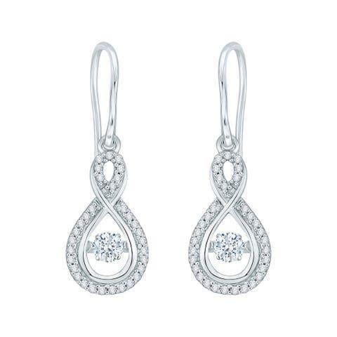 14K White Gold 1/3ct TDW Dancing Diamond Earrings (I-J, I1)