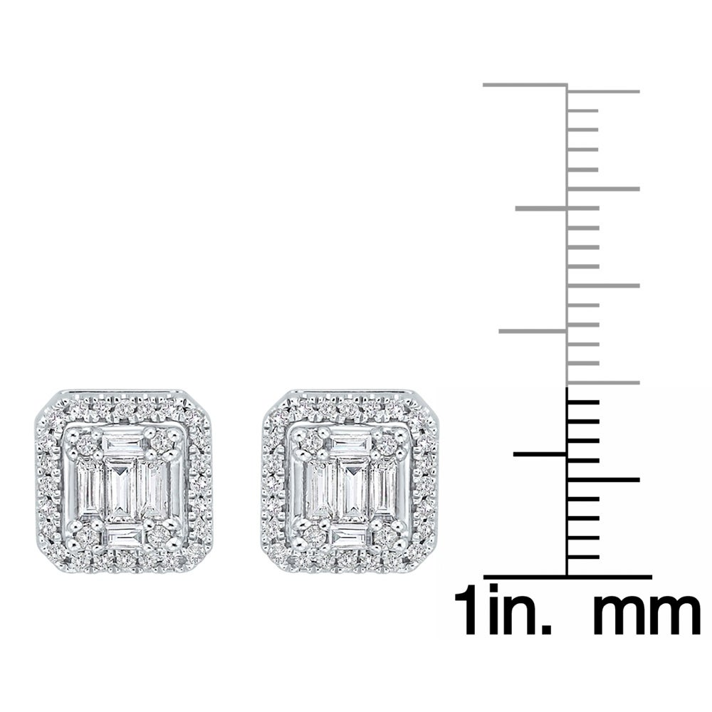 3cb76013e Shop 14K White Gold 2/3ct TDW Round and Baguette-Cut Diamond Cluster Stud  Earrings (G-H, I2) - On Sale - Free Shipping Today - Overstock - 21482433
