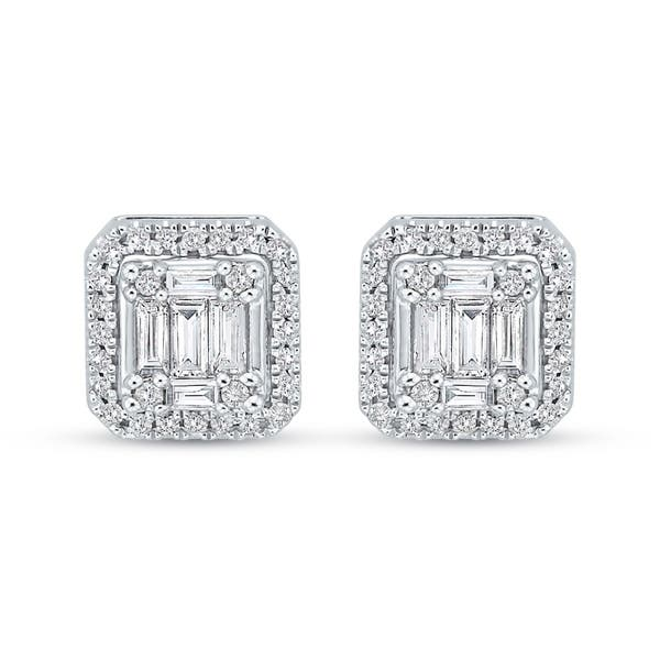 6d7121d73 14K White Gold 2/3ct TDW Round and Baguette-Cut Diamond Cluster Stud  Earrings (G-H, I2)