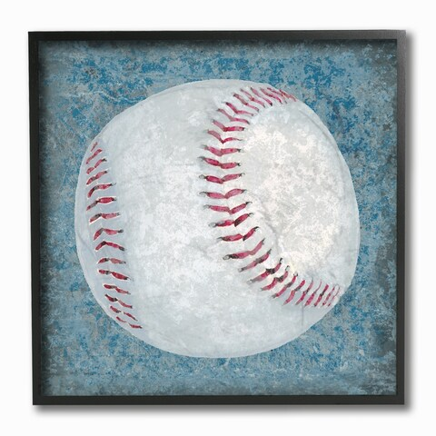 Kids Room by Stupell Grunge Sports Equipment Baseball Framed Giclee Texturized Art, 12 x 1.5 x 12, Made in USA