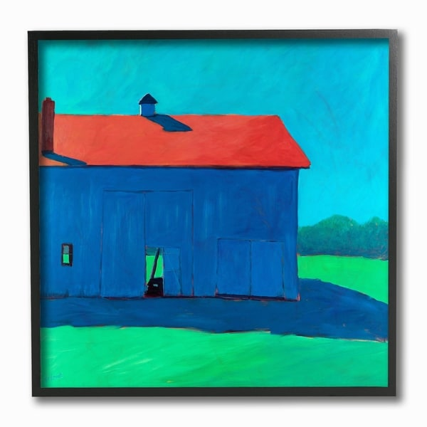 Stupell Home Decor Collection Colorful Luminous Painted Farm Barn Framed Giclee Texturized Art, 12 x 1.5 x 12, Made in USA