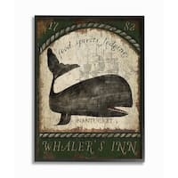 Stupell Home Decor Collection Vintage Nantucket Whaler's Inn Sign Framed Giclee Texturized Art, 11 x 1.5 x 14,  Made in USA