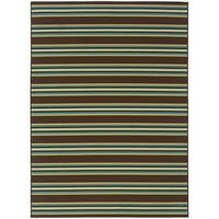 Coastal Stripe Brown/Green Area Rug - 7'10 x 10'10