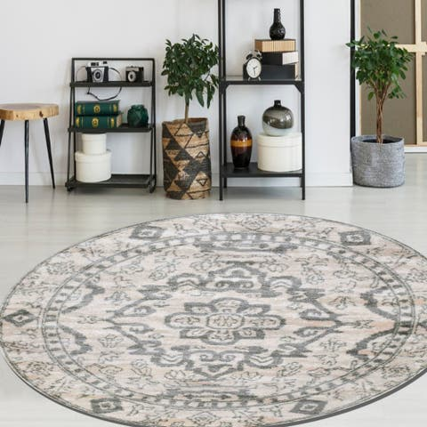 """Catherine Madallion Area Rugs by Admrie Home Living - 6'7"""" Round"""
