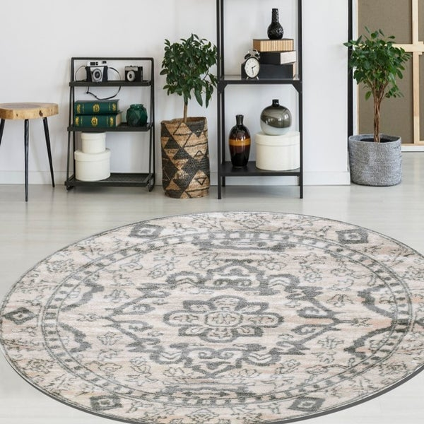 "Catherine Madallion Area Rugs By Admrie Home Living - 6'7"" Round"