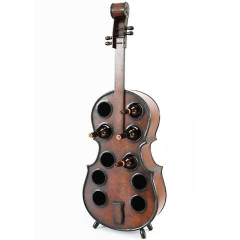 Wooden Violin Shaped Wine Rack, 10 Bottle Decorative Wine Holder