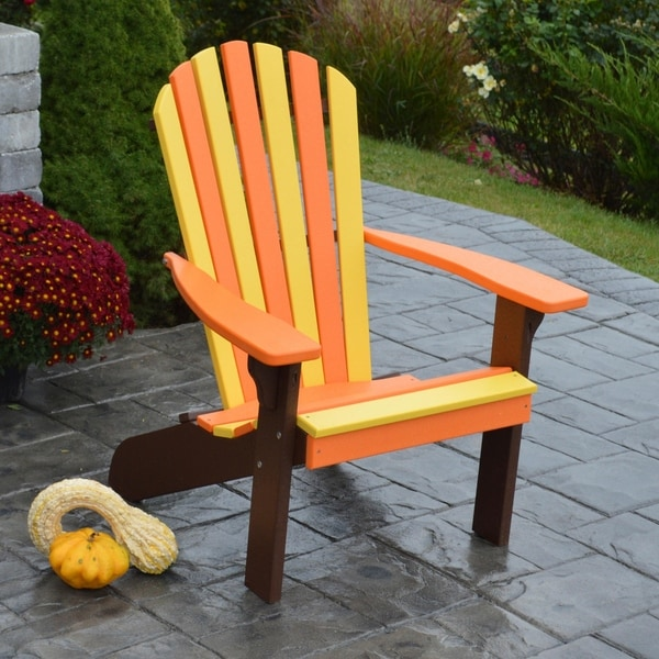 Fanback Autumn Splendor Color Orange/Yellow/Tudor Brown Adirondack Chair
